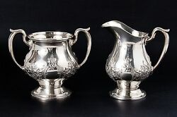 M. Fred Hirsch Pattern 408 Sterling Silver Hand Chased Sugar And Creamer Bowls