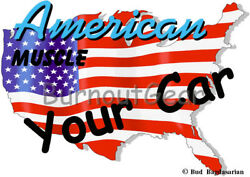 CUSTOM MADE T-Shirt with YOUR CAR & USA Background Set Up Muscle Car Tees