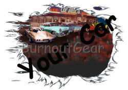 CUSTOM MADE T-Shirt with YOUR CAR & Diner Background Set Up Muscle Car Tees
