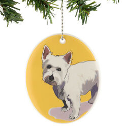 * New GO DOG by PAPER RUSSELL Hanging Ornament WESTIE Puppy WHITE TERRIER Tile