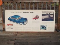 Orig./rare 1953 Hudson Wasp Automobile Auto Dealership Sign 54 X 24 From Estate