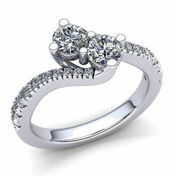 Natural 2ct Round Cut Diamond Ladies Twisted 2stone Engagement Ring 18k Gold