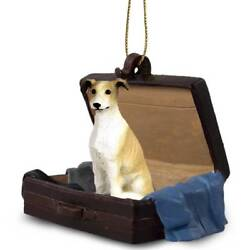 Greyhound Tan Traveling Companion Dog Figurine In Suit Case Ornament