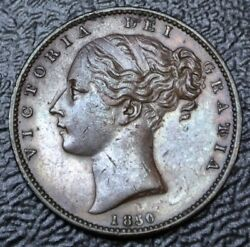 1850 Great Britain - Farthing - Copper - Victoria - Nice Details