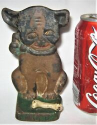 ANTIQUE HUBLEY DRAYTON BOSTON TERRIER IMP CAST IRON BONE DOG STATUE TOY DOORSTOP
