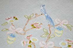Easter Egg Ornaments And Bird Of Paradise N Cherry Blossom Vtg German Tablecloth
