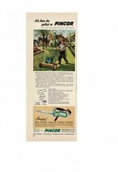 Vintage 1948 Pincor Power Lawn Mower Boy Mowing Grass Hedge Trimmer Ad Print