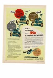 Vintage 1950 Pincor Products Power Push Lawn Mowers Gas Ad Print