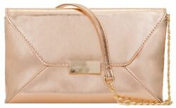 Plain Womens Faux Leather Clutch Bag Metallic Rose Gold Events Evening Party