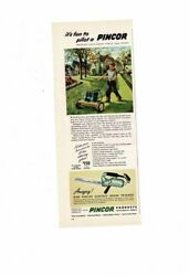 Vintage 1948 Pincor Products Power Push Lawn Mowers Boy Hedge Trimmer Ad Print