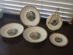 Cronin China Colonial Courting Couple Gold Trim Soup Bowl Cup Saucer 6 Pc Lot