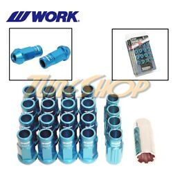 Work Racing Rs-r Extended Forged Aluminum Lock Lug Nuts 12x1.25 1.25 Blue Open S