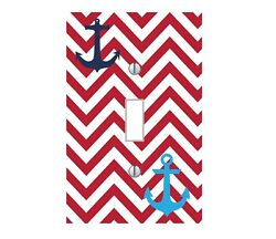 Nautical - LIGHT SWITCH PLATE COVER - Boat Anchor Chevron Pick Colors Home Decor