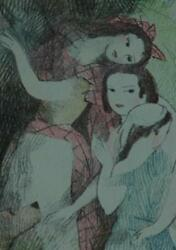 Beautiful Vintage Lithograph of 3 Girls and a Dog Pencil Signed Marie Laurencin