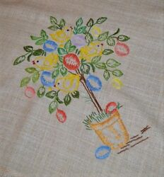 Easter Chicks In A Potted Tree Of Egg Ornaments Vtg German Hand Emb Tablecloth