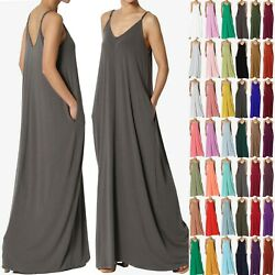 TheMogan S 3X Casual Beach V Neck Soft Jersey Cami Long Maxi Dress With Pocket $23.99