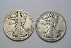 1918-d And 1918-s Walking Liberty Half Dollars, Vg Condition - C4951