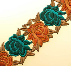 Embroidered Iron-On Trim. 3 Yards. Shades of Teal & Persimmon