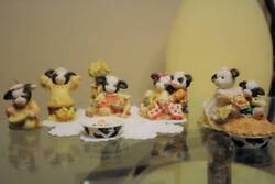 Cow Holstein Figurines Mary's Moo Moo Thanksgiving Pilgrims Indians 8pc