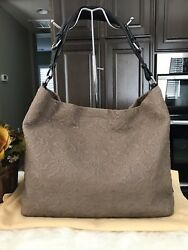 100% AUTH LOUIS VUITTON Antheia Satchel Pm Grey Leather  Hobo  Bag