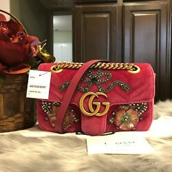 100% AUTH BNWT GUCCI MARMONT PINK EMBROIDERED VELVET CRYSTAL BAG CROSSBODY