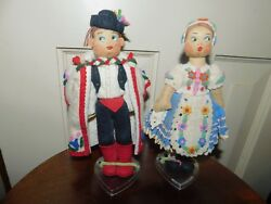 Vintage Pair Made In Hungary Boy And Girl Dolls Felt Cloth Ethnic Costumes
