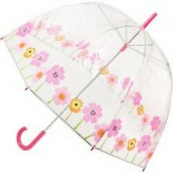 Totes Classic Canopy Clear Bubble Umbrella Rain Protection Polyester Poppies NEW