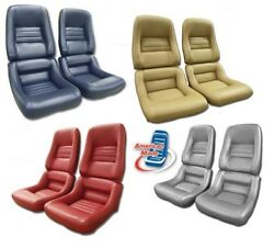 1979 - 1982 Corvette Seat Covers Leather / Vinyl Mounted On New Foam C3 New