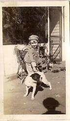 Cute Tam Cap Boy Playing Outside wHis Canine Companion Boston Terrier Vtg Photo