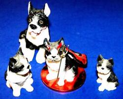 4 Vintage Dog Figurines Resin BOSTON TERRIER DOG Miniature Dogs Mixed Lot