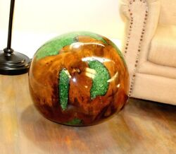 Giant Teak Wood And Green Resin Plastic Lucite 20 Inch Ball Rare -the Kings Bay