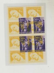 Croatia,wwii ,postman 1945,50 Kn,rare Proof On War Relief 5 Kn Stamps
