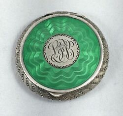 Great Austrian 935 Sterling And Enamel Compact