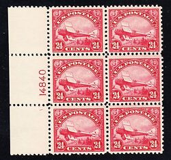 Us C6 24c Air Mail Left Side Plate Block Of 6 Mint Vf-xf Og Nh