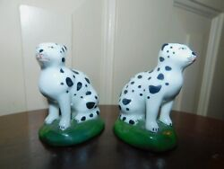 PAIR ANTIQUE SAMSON with Chelsea gold anchor figurines spotted ceramic cats