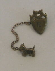 1939 School Pin with Mascots of Scottish Terriers Scottie Dogs