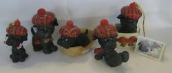 5 Scottish Terrier Porcelain Ornaments 1986 by Ruth Morehead