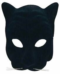 Plastic Black Panther Cat Zoo Animal Mask Adult Halloween Costume Accessory