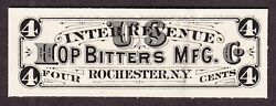 Us Rs131p3 4c Hop Bitters Match And Medicine Proof India Paper On Card Xf Scv 75