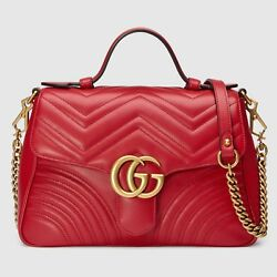 100% AUTH NEW GUCCI Marmont Top Handle Small Shoulder Bag Crossbody RED