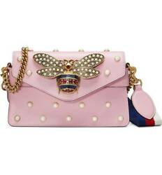 100% AUTH NEW GUCCI BROADWAY SUGAR PINK LEATHER CROSSBODY BAG WEB STRAP