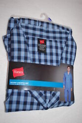 Mens Pajama Set Lt Weight Woven Blue And Navy Checker Plaid Pants L/s Top Size 2xl