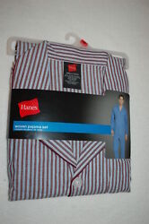 Mens Pajama Set Lt Weight Woven Maroon Blue White Striped Pants And L/s Top Size S