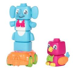 Toomies E72727 Build Mix And Match Elephant And Parrot Friend Flappee Stackees Toy