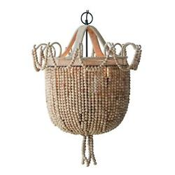 Natural Wood Beaded 33 Inch Tall Chandelier Hand Made Basket And Loop Beads Big