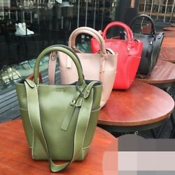 Women lady small bucket tote bag 100% genuine leather chic shoulder strap summer
