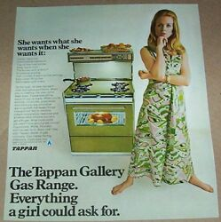 1968 Advertising Page - Tappan Gas Ranges Stove Oven Girl Fashion Print Ad