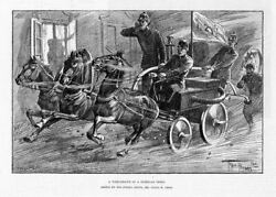 Firemen On Horse Drawn Fire Engine Hurry To Fire In A Siberian Town Firefighters