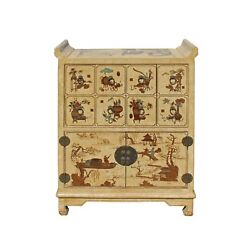 Chinese Golden Beige Veneer Print Graphic Side Table Drawers Cabinet cs3913