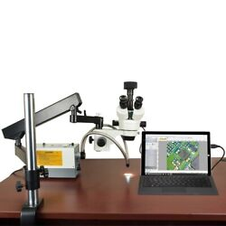 2.1x-270x 18mp Usb3 Digital Zoom Articulating Microscope 150w Ring And Dual Lights